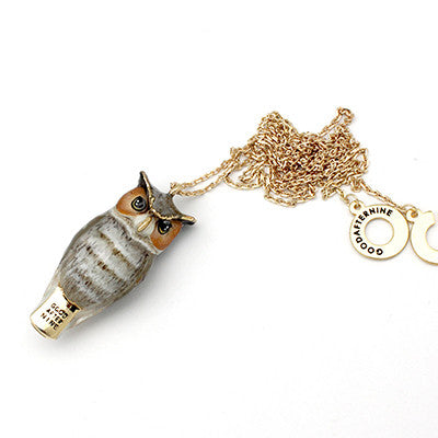 Merry Great Horned Owl Whistle Necklace