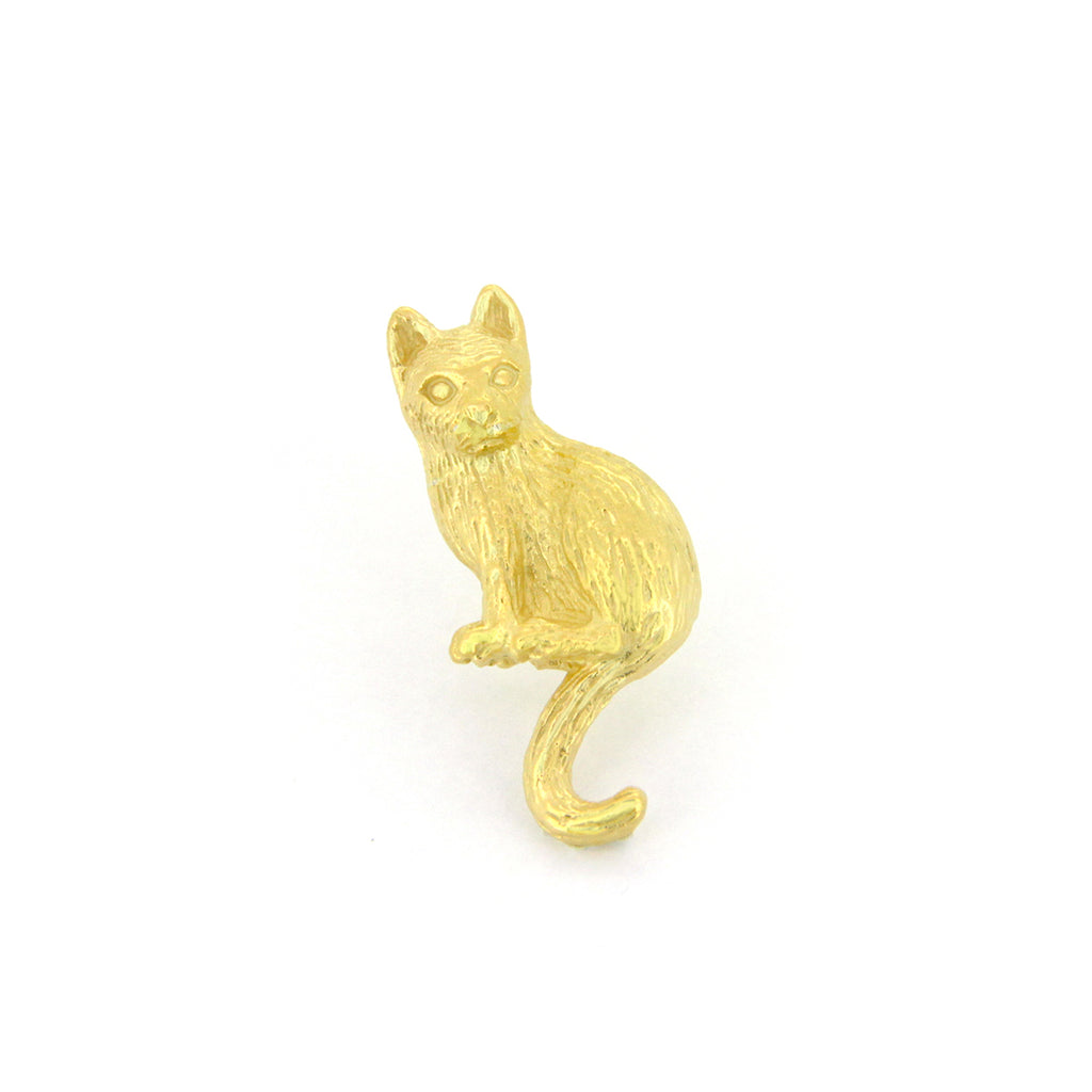 Murmur Sitting Cat One-side Earrings 925 Sterling Silver