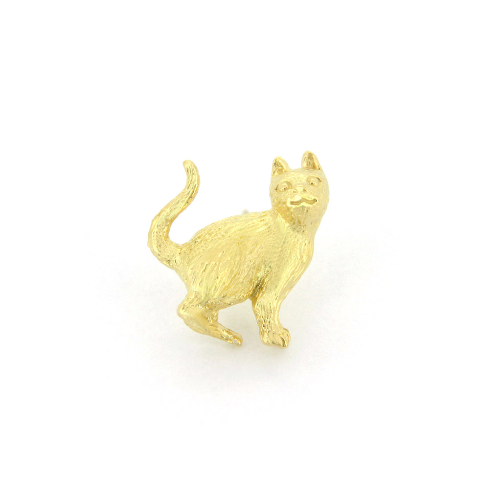 Murmur Stand Up Cat One-side Earrings 925 Sterling Silver
