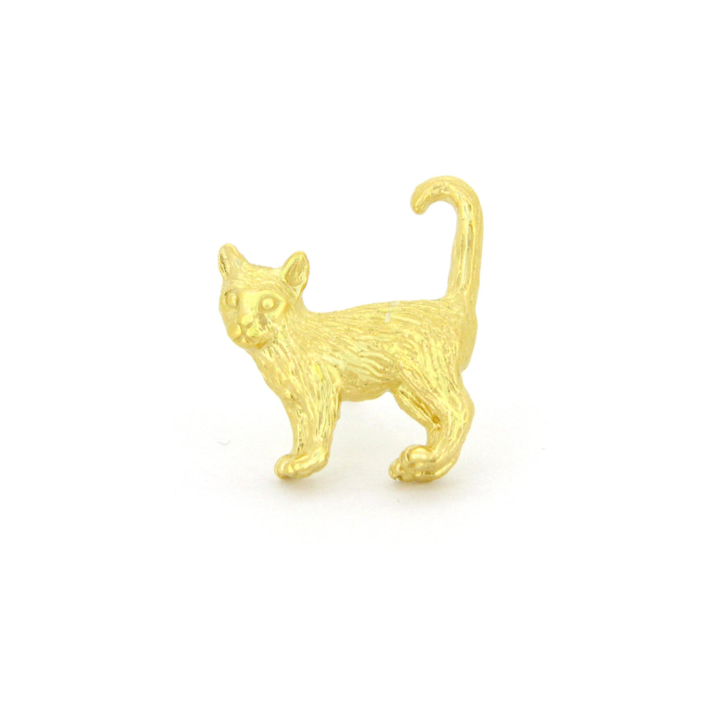 Murmur Standing Cat One-side Earrings 925 Sterling Silver