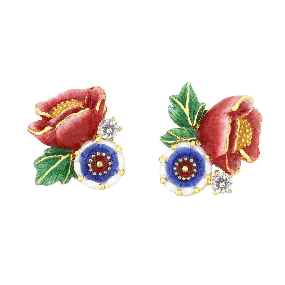 Orient Romance Love Flower Stud Earrings