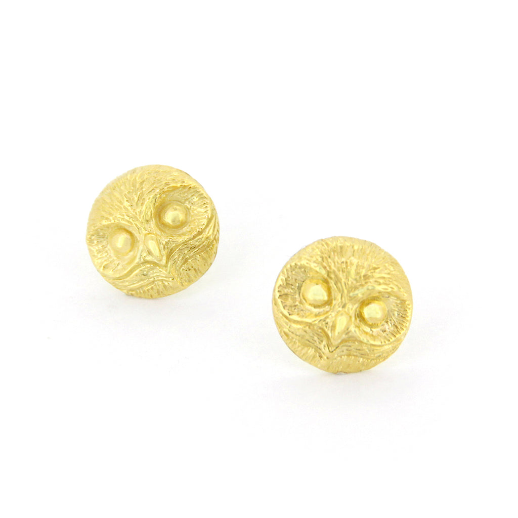 Happy Spotted Owl Stud Earrings 925 Sterling Silver