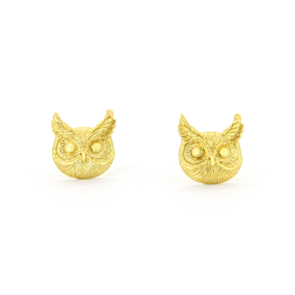 Merry Great Horn Owl Stud Earrings 925 Sterling Silver