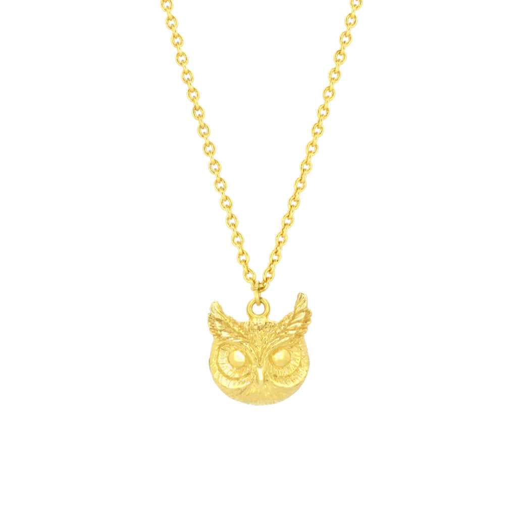 Merry Great Horn Owl Necklace 925 Sterling Silver