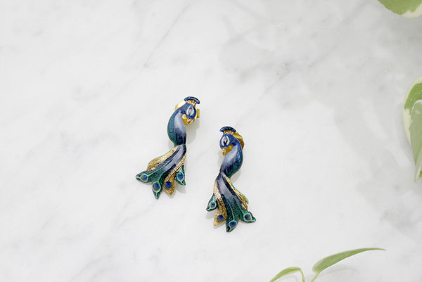 Peacock Earrings // Ballerine Bird