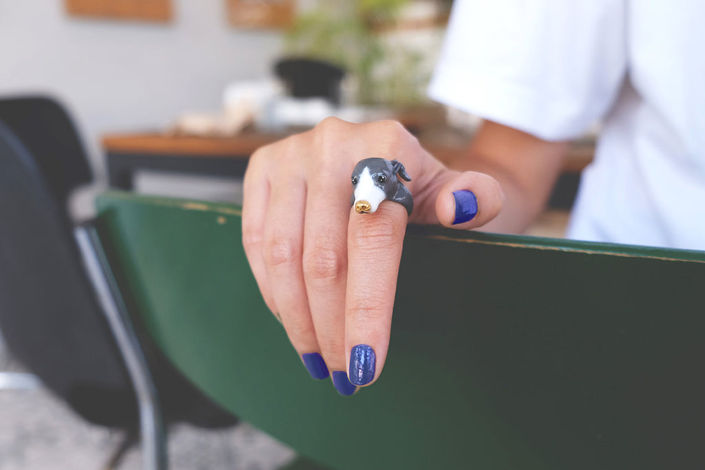 Zero Italian Greyhound Ring Blue