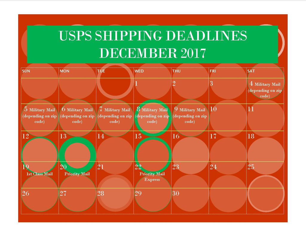 USPS Shipping Deadlines for 2017