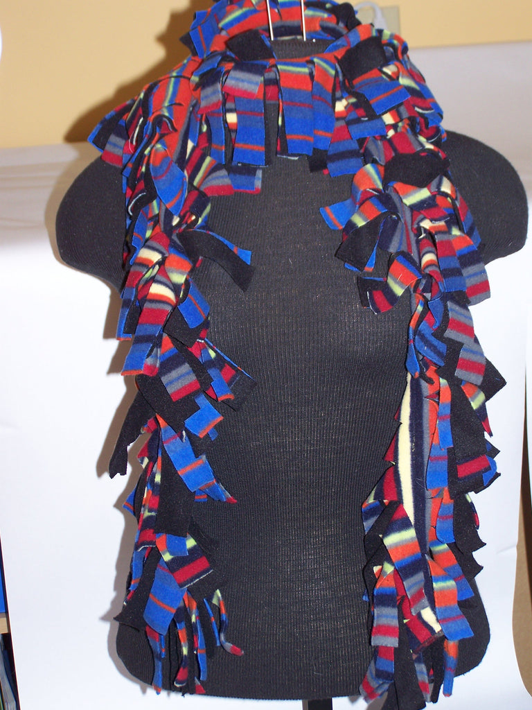 "65"" Fleece Scarf (Black/Multi Stripe)"