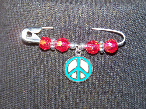 blue peace sign pin (various bead colors)