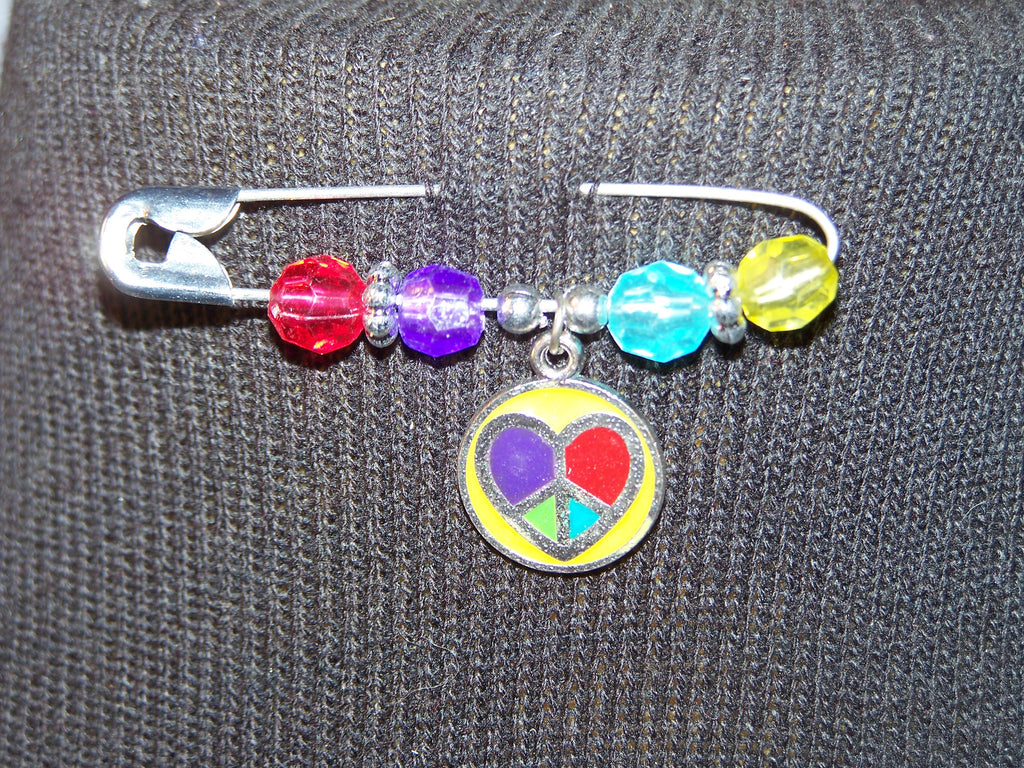 multi-colored peace & love pin (various bead colors)