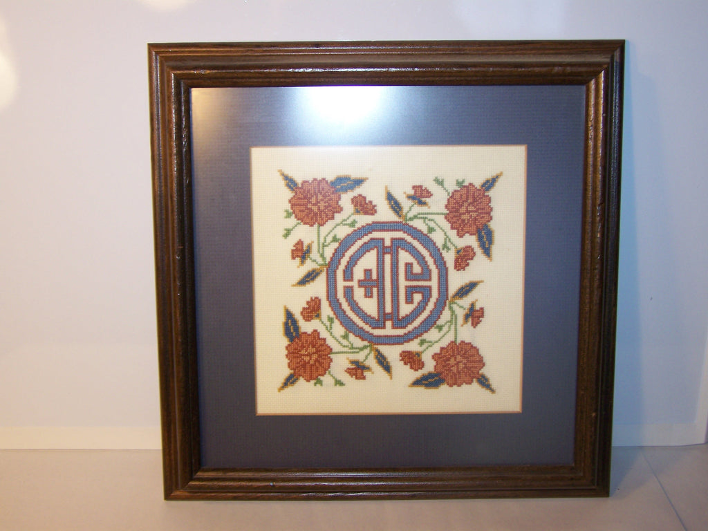 Matted & Framed Circle Letters Cross-Stitch