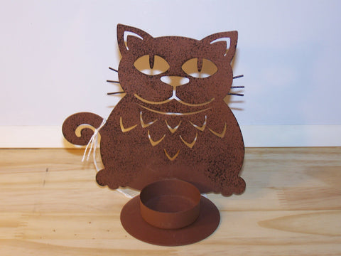 Cat Metal Cutout Candleholder
