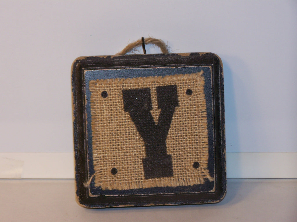 "Wood Block - Burlap ""Y"""
