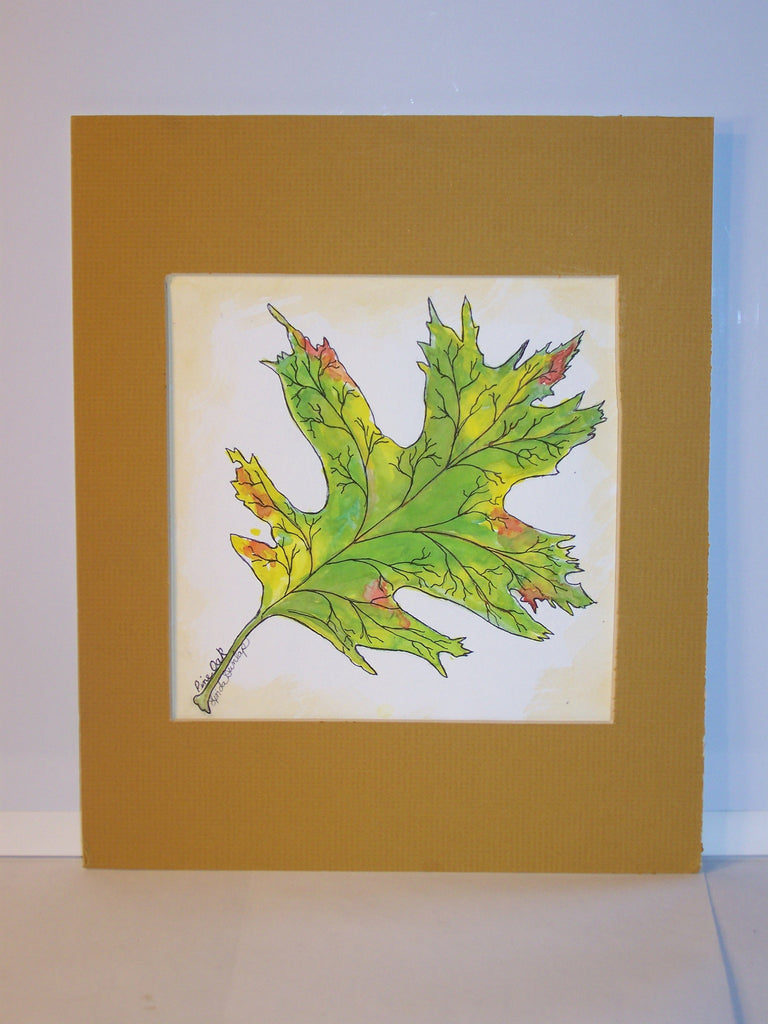 Signed Oak Leaf Watercolor w/Mat