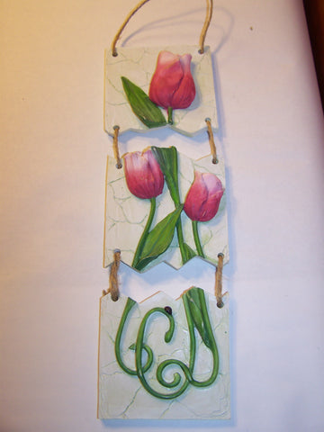 Hanging Tulip Plaque - 3 pc. Ceramic