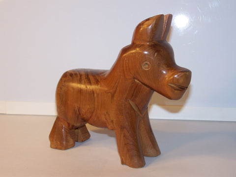 Wood Donkey - Carved