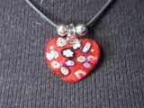Red Glass Heart Necklace Blk Cord 9""