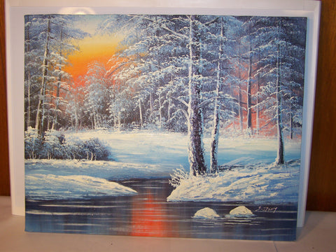Signed Winter Forrest Scene Painting