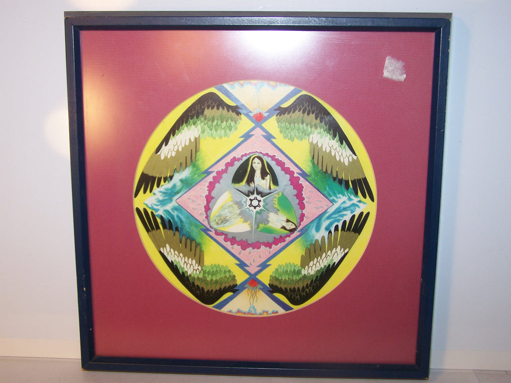 Matted, Framed Colorful Circular Drawing