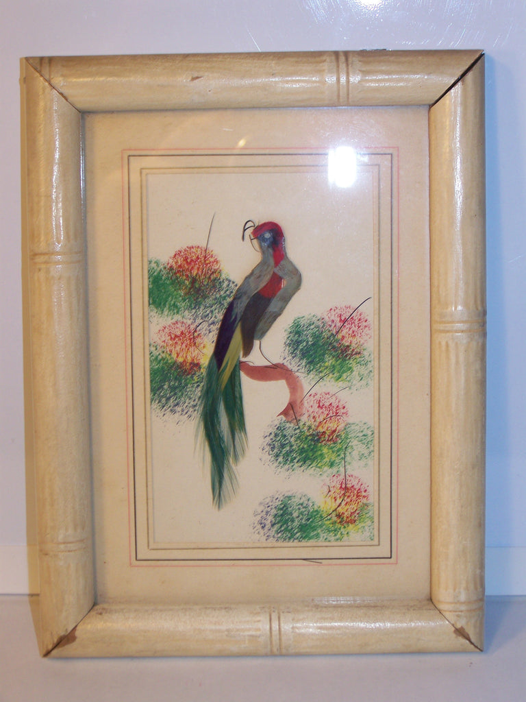 bamboo framed vintage feather green tail bird painting
