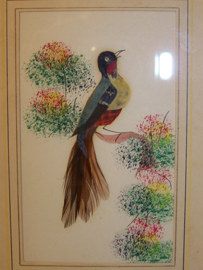 bamboo framed vintage feather brown tail bird painting