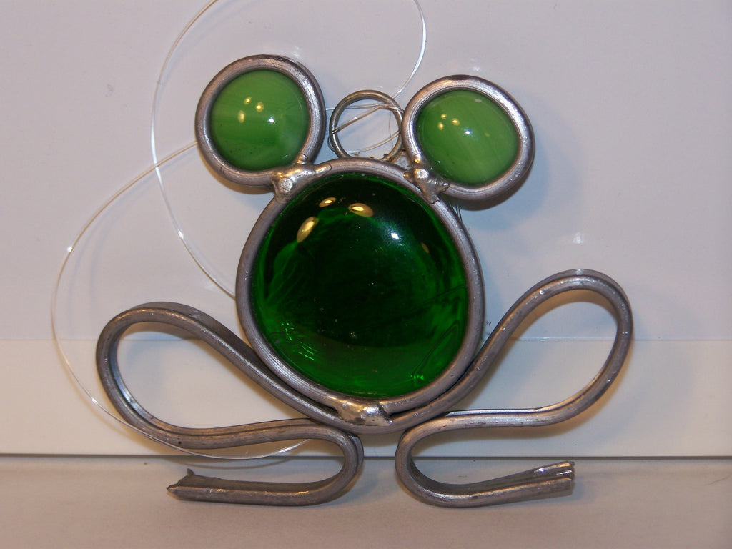 green metal & glass frog window hanger