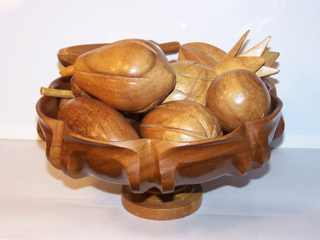 wood bowl w/fruit (9 piece set)