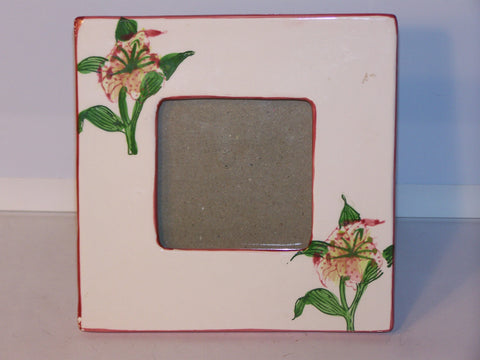 Ceramic Painted Flower Picture Frame