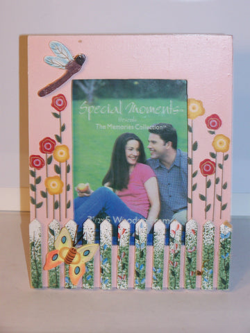 Wooden Painted & Decorated Garden Picture Frame