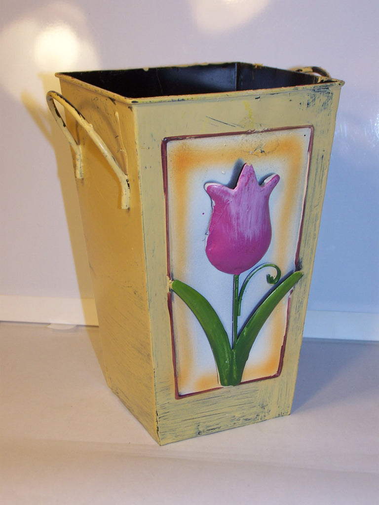 Yellow Painted Metal Tin w/Pink Flower