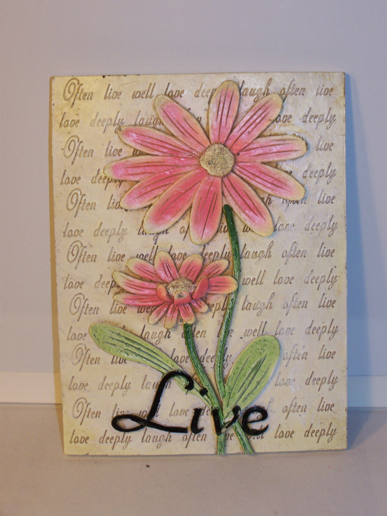 "Flower Wall Plaque - Ceramic ""Live"" Pink"