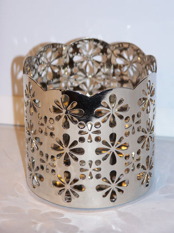 Flower Cutout Metal Candleholder