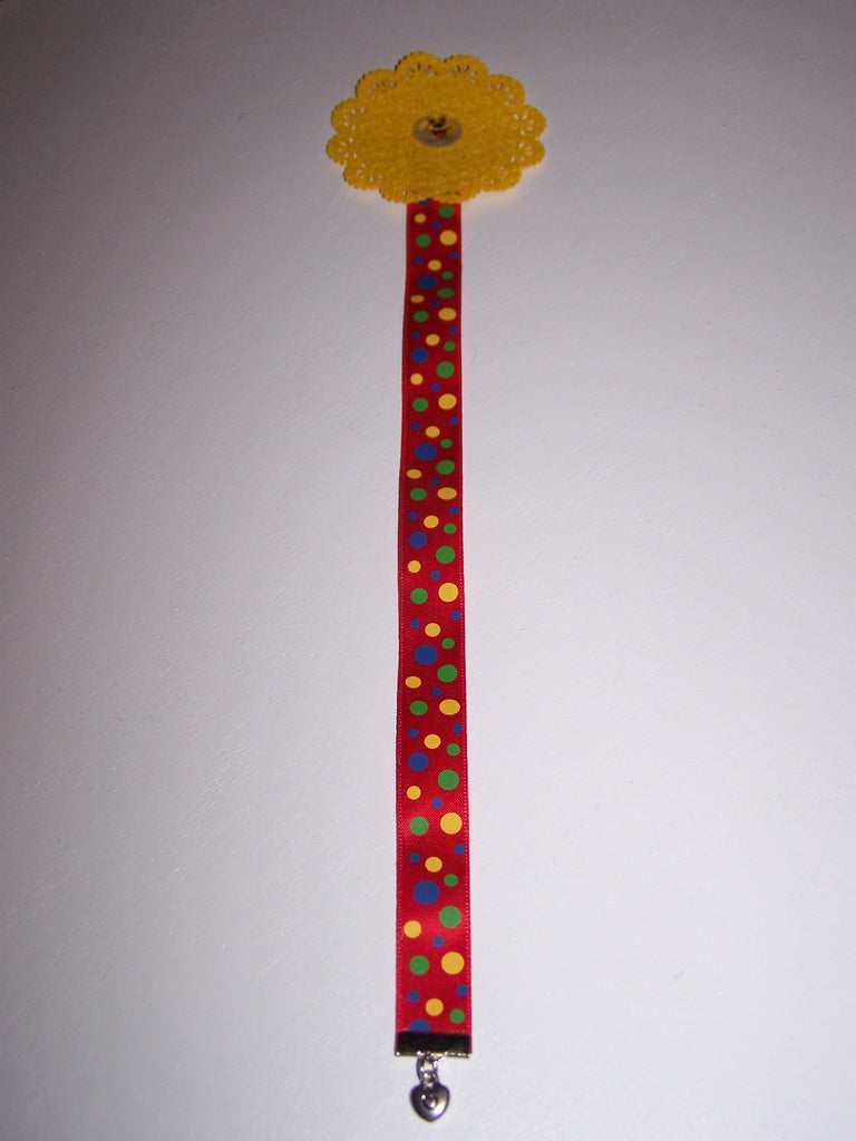 Yellow smiley flower dot ribbon bookmark