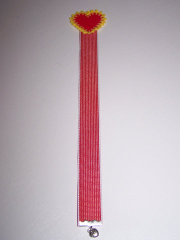 "10"" red heart red ribbon bookmark"