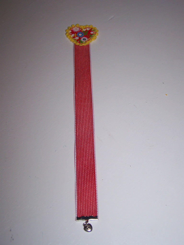Red flower heart red ribbon bookmark
