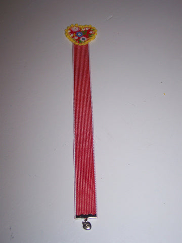 "10"" red flower heart red ribbon bookmark"