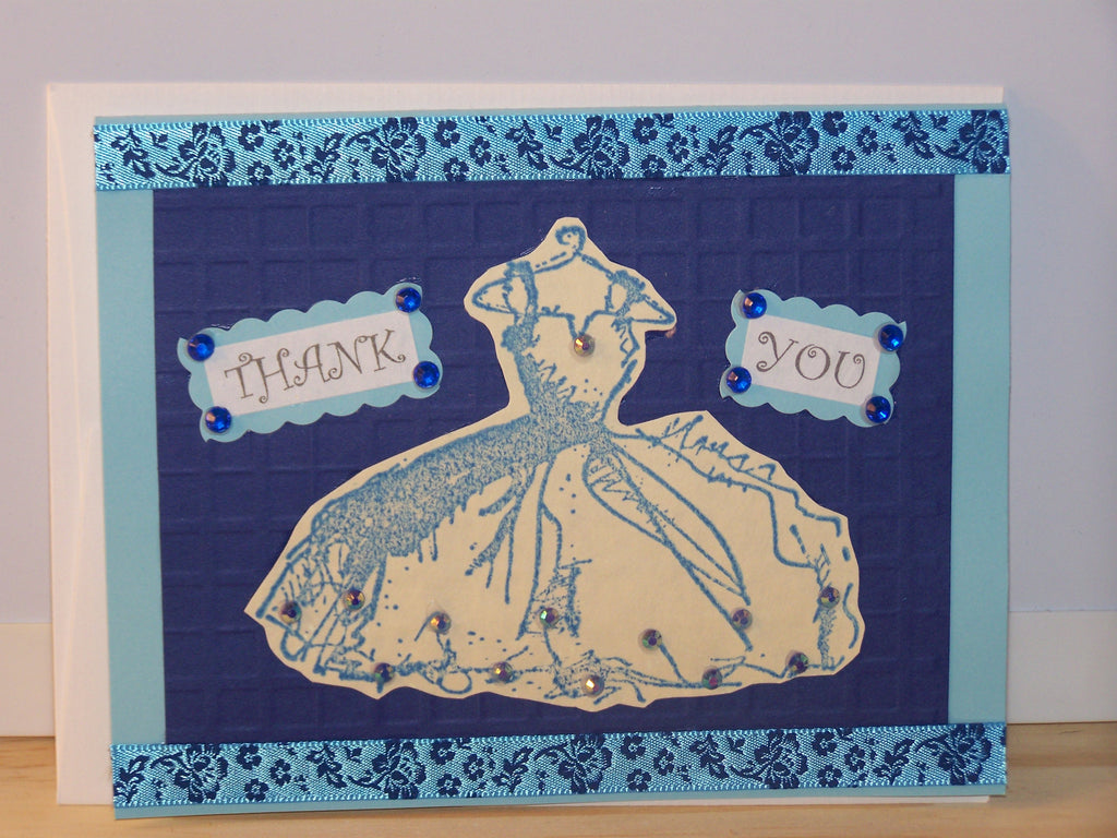 Thank You card - blue dress