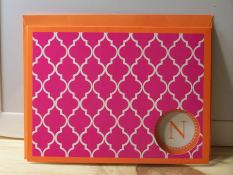 """N"" note card - set of 6"
