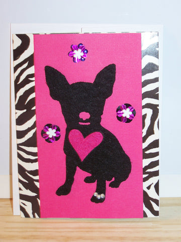 Animal Print Dog Heart Card