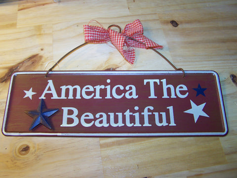 America The Beautiful Metal Sign