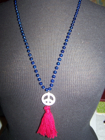 "14"" Beaded Necklace (Peace Sign) with Tassel"