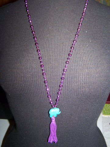 "16"" Beaded Necklace (Elephant) with Tassel"