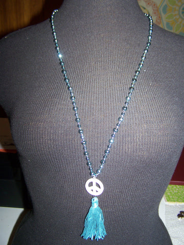 "16"" Beaded Necklace (Peace Sign) with Tassel"