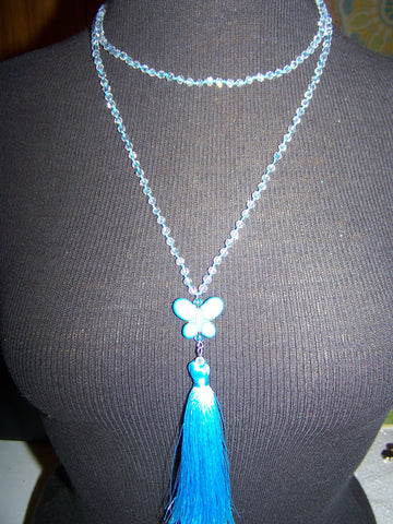 "21"" Beaded Necklace (Butterfly) with Tassel"