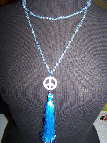 "21"" Beaded Necklace (Peace Sign) with Tassel"