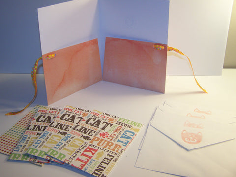 Cat Lover Handmade Card and Envelope Set