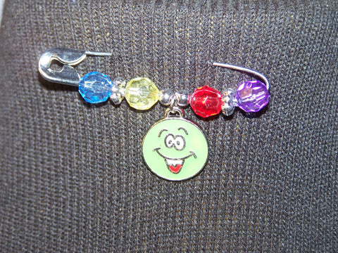 Green Smiley Face Pin (various bead colors)