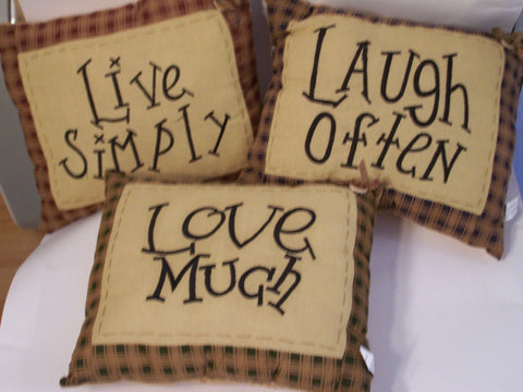 Live Simply, Laugh Often, Love Much Pillows