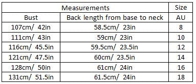 aaliah size guide garment measurements