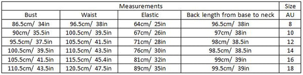AADYA SIZE GUIDE GARMENT MEASUREMENTS